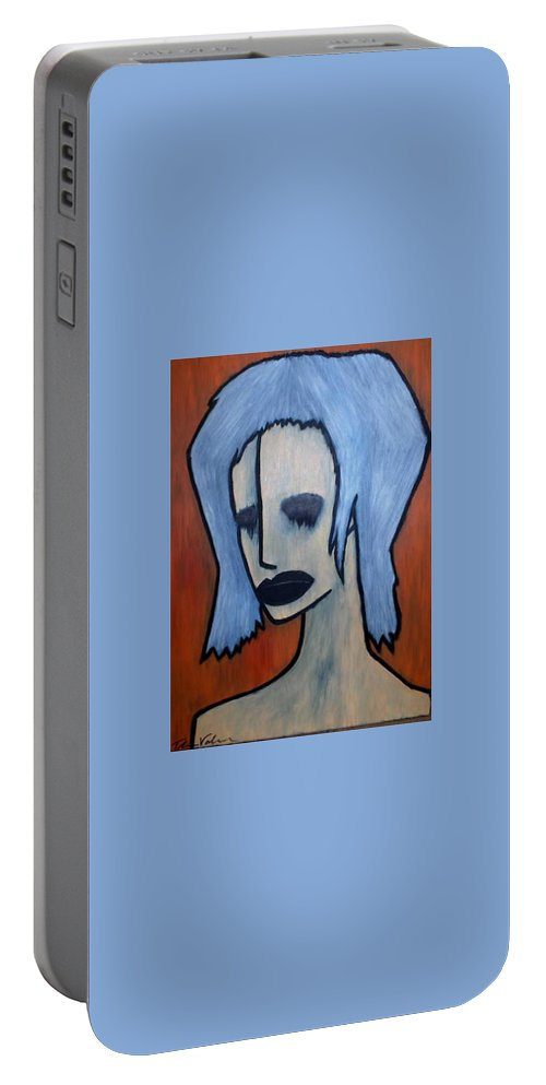 Potrait Portable Battery Charger featuring the painting Halloween by Thomas Valentine