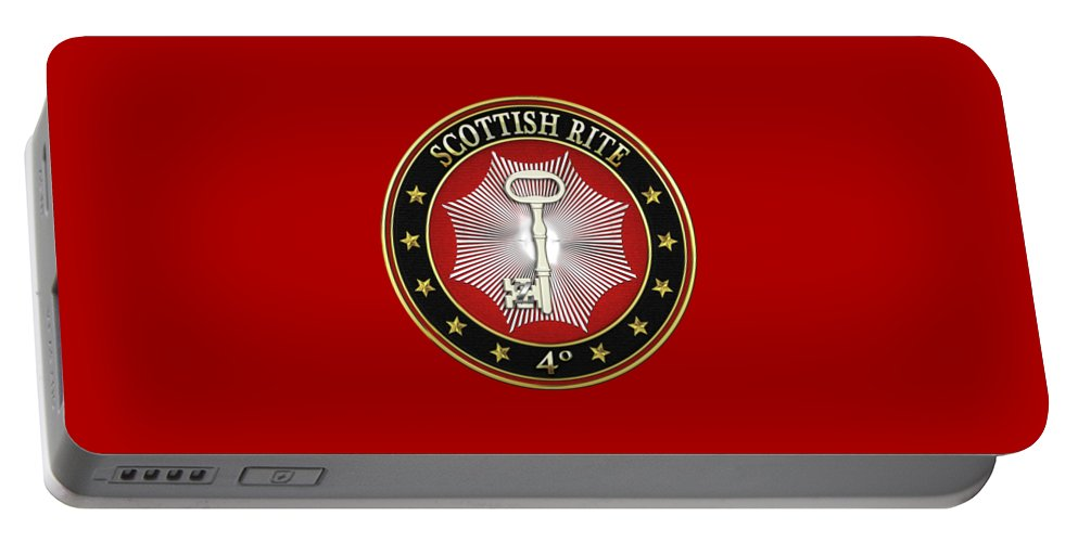 'scottish Rite' Collection By Serge Averbukh Portable Battery Charger featuring the digital art 4th Degree - Secret Master Or Master Traveler Jewel On Red Leather by Serge Averbukh