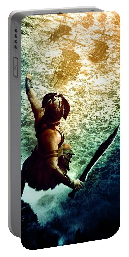 Portable Battery Charger featuring the digital art 300 Rise Of An Empire 2014 by Geek N Rock