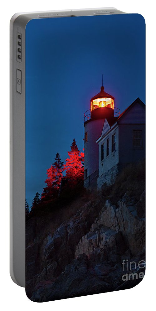 Acadia Portable Battery Charger featuring the photograph Bass Harbor Lighthouse by John Greim