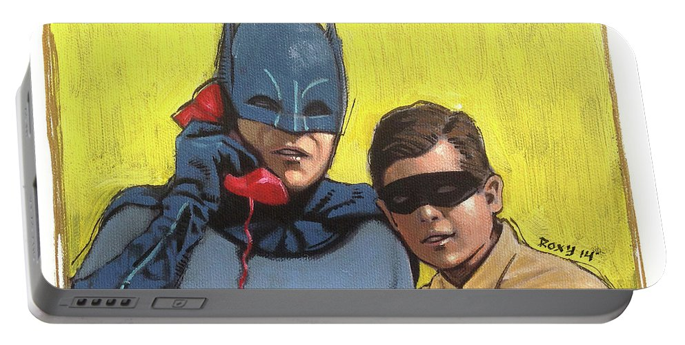 Superheroes Portable Battery Charger featuring the painting Batman by Art Popop