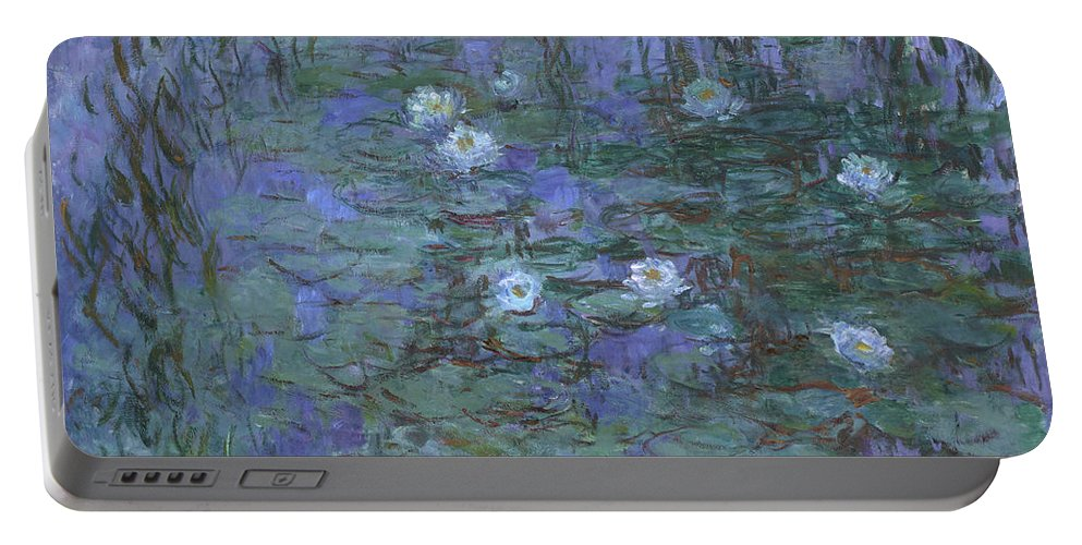 Claude Monet Portable Battery Charger featuring the painting Blue Water Lilies by Claude Monet