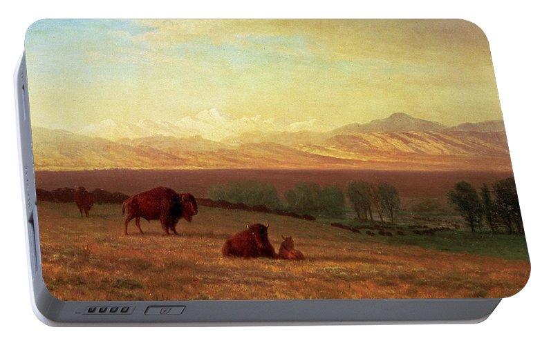 Albert Bierstadt Portable Battery Charger featuring the painting Buffalo On The Plains by Albert Bierstadt