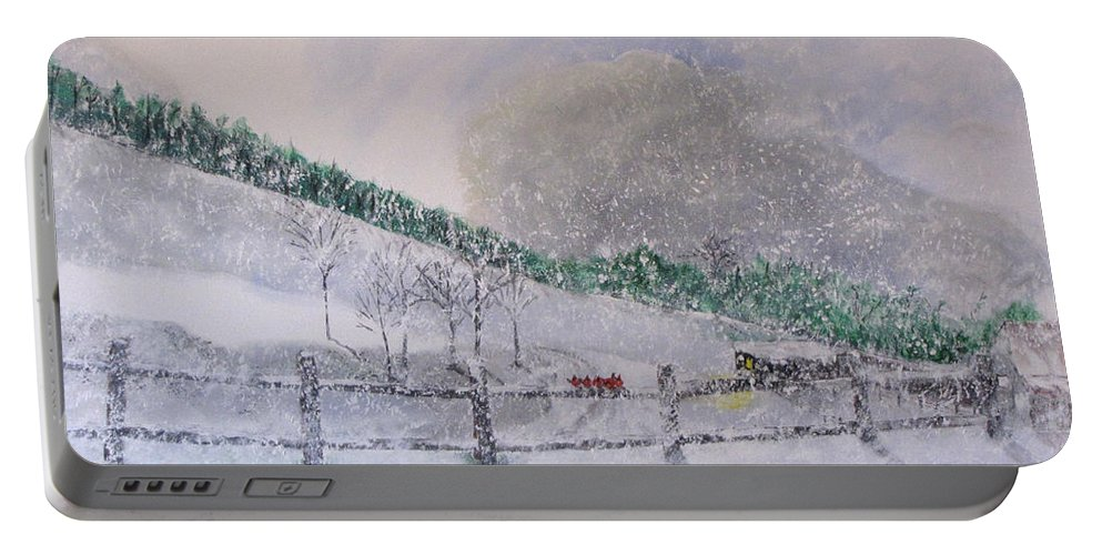 Snow Portable Battery Charger featuring the painting 5 Card Stud by Gary Smith