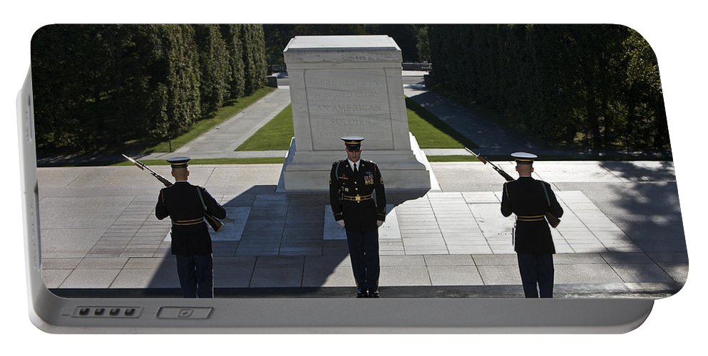 Horizontal Portable Battery Charger featuring the photograph Changing Of Guard At Arlington National by Terry Moore