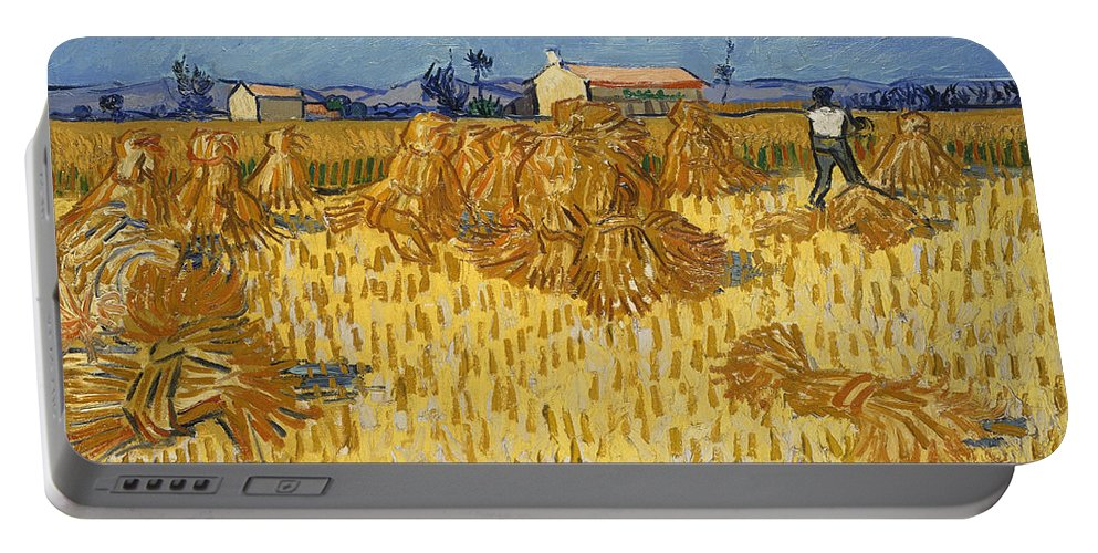 Country Portable Battery Charger featuring the painting Corn Harvest In Provence by Vincent van Gogh