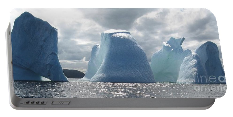 Iceberg Photograph Ice Water Ocean Altantic Newfoundland Summer Portable Battery Charger featuring the photograph Iceberg by Seon-Jeong Kim