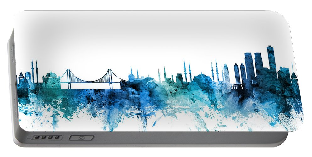 Istanbul Portable Battery Charger featuring the digital art Istanbul Turkey Skyline by Michael Tompsett