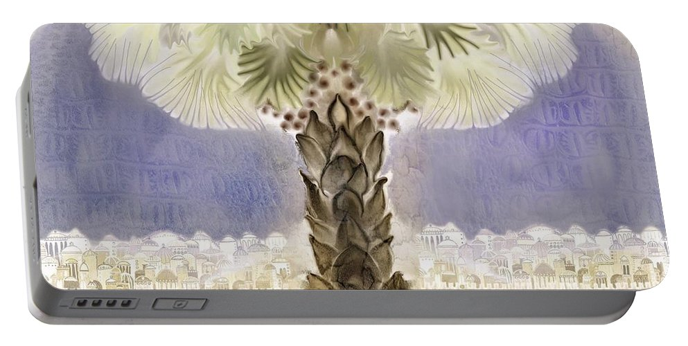 Jerusalem Portable Battery Charger featuring the digital art Jerusalem- Tryptich Part 2 by Sandrine Kespi