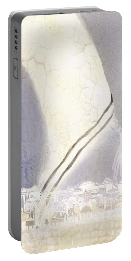 Portable Battery Charger featuring the digital art Jerusalem- Tryptich Part 3 by Sandrine Kespi