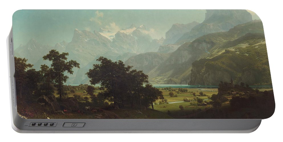 Albert Bierstadt Portable Battery Charger featuring the painting Lake Lucerne by Albert Bierstadt