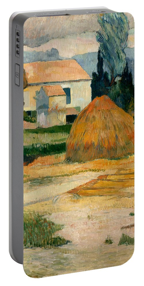 Country Portable Battery Charger featuring the painting Landscape Near Arles by Paul Gauguin