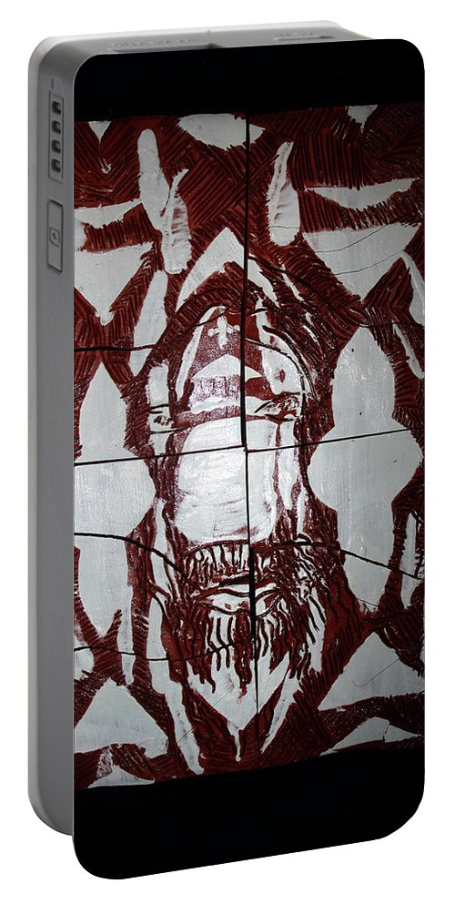 Jesus Elohimplaquesmamamama Africa Twojesus Portable Battery Charger featuring the ceramic art Lion Of Judah by Gloria Ssali