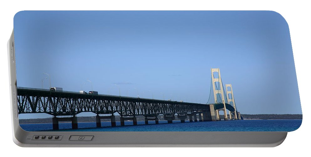America Portable Battery Charger featuring the photograph Mackinac Bridge by Frank Romeo
