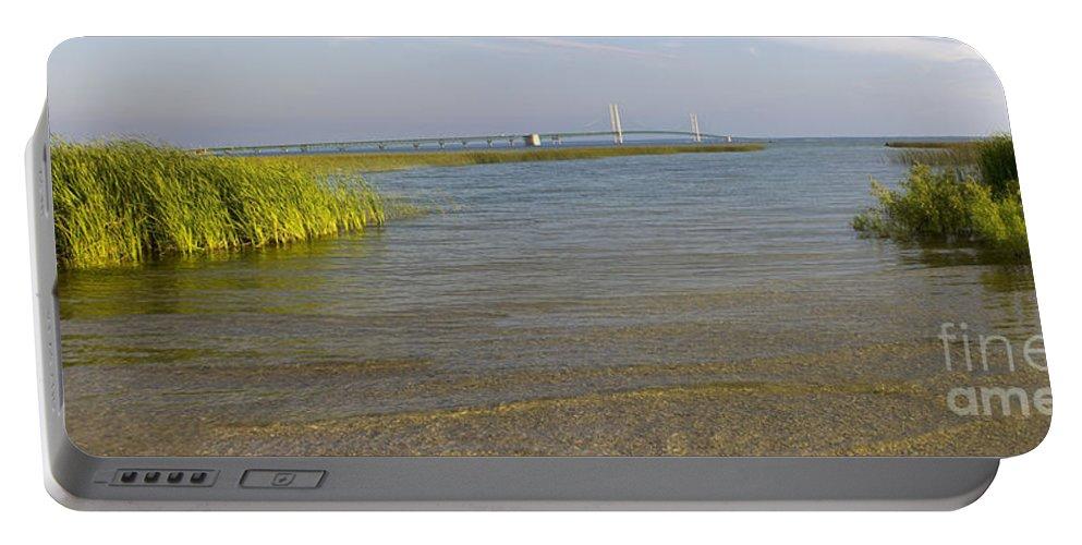 Mackinaw Portable Battery Charger featuring the photograph Mackinac Bridge by Tara Lynn
