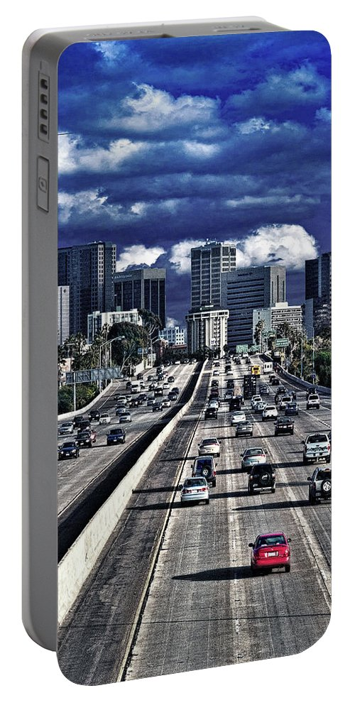 Driving Portable Battery Charger featuring the photograph 5 Pm Downtown Next Exit by Chris Lord