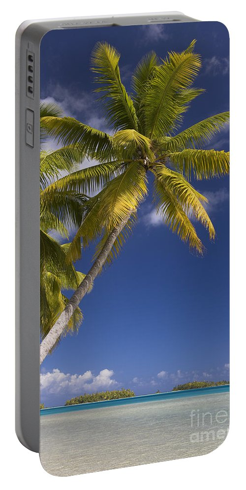 Beach Portable Battery Charger featuring the photograph Polynesian Beach With Palms by Jean-Louis Klein & Marie-Luce Hubert