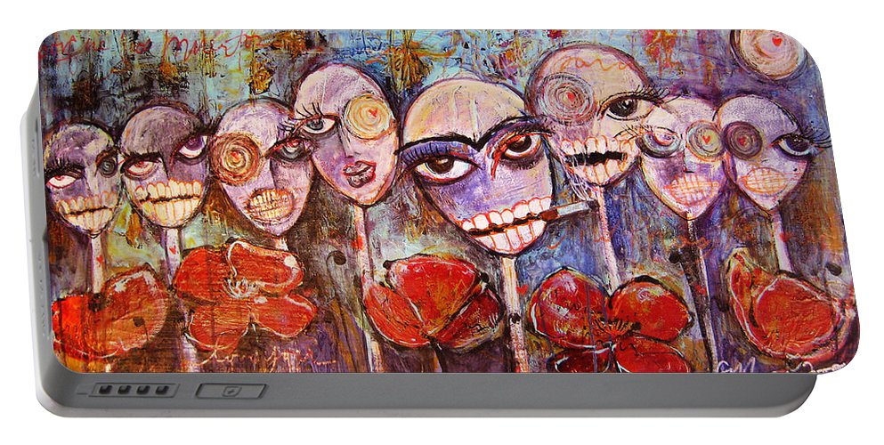 Dia De Los Muertos Portable Battery Charger featuring the painting 5 Poppies For The Dead by Laurie Maves ART