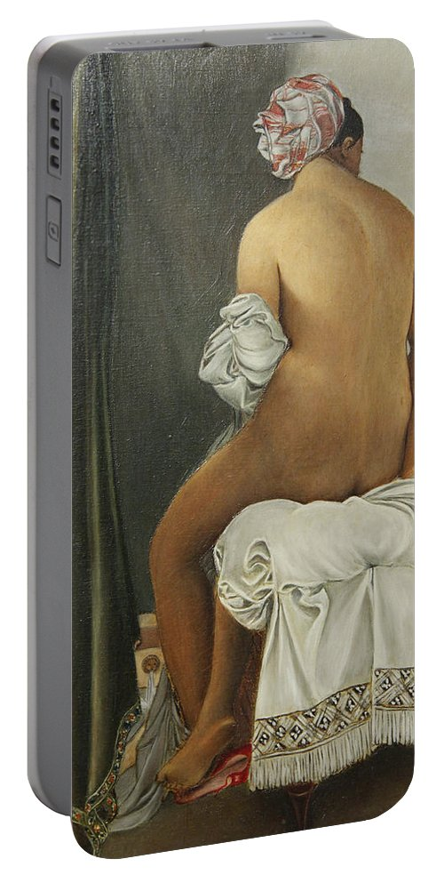 Nude Portable Battery Charger featuring the painting Reproduction by Clarissa Talve