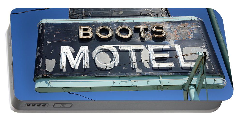 66 Portable Battery Charger featuring the photograph Route 66 - Boots Motel by Frank Romeo