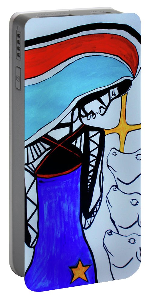 Jesus Portable Battery Charger featuring the painting South Sudan - Peace Reborn by Gloria Ssali