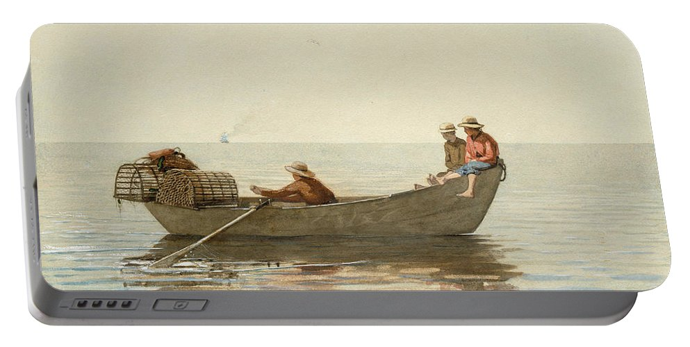 Winslow Homer Portable Battery Charger featuring the painting Three Boys In A Dory With Lobster Pots by Winslow Homer