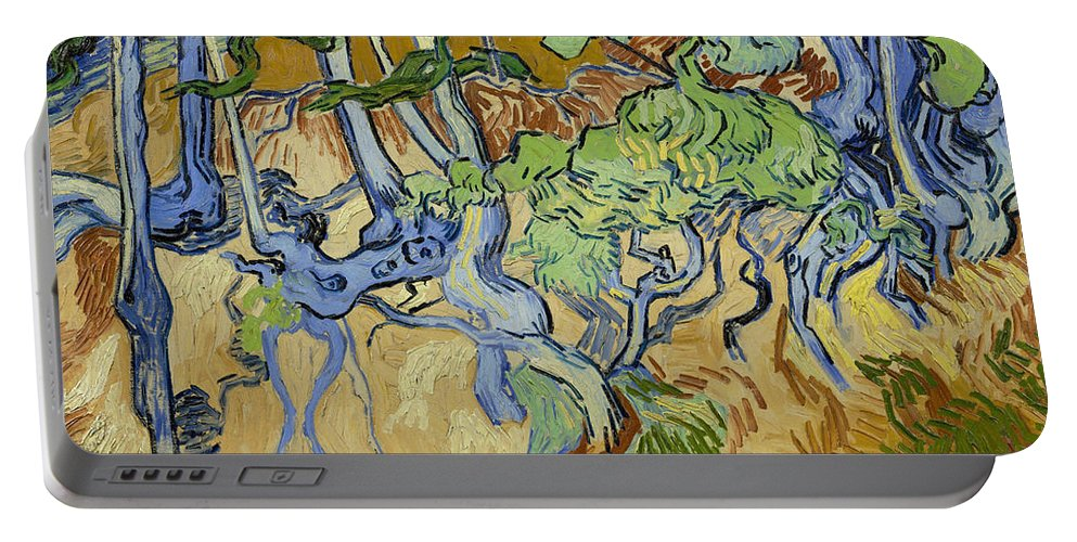 Dutch Portable Battery Charger featuring the painting Tree Roots by Vincent van Gogh
