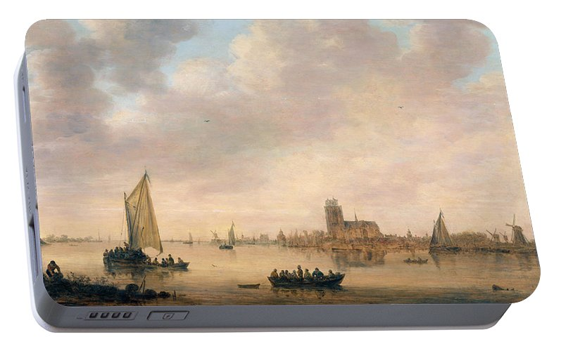 Jan Van Goyen Portable Battery Charger featuring the painting View Of Dordrecht From The Dordtse Kil by Jan van Goyen
