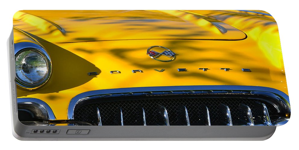 Portable Battery Charger featuring the photograph Yellow Corvette by Dean Ferreira