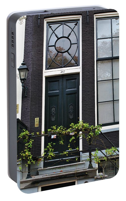 Amsterdam Portable Battery Charger featuring the photograph 507 Doors Of Amsterdam Green by Jost Houk