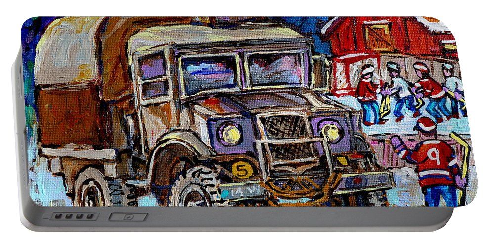 Dodge Truck Portable Battery Charger featuring the painting 50's Dodge Truck Red Wood Barn Outdoor Hockey Rink Art Canadian Winter Landscape Painting C Spandau by Carole Spandau
