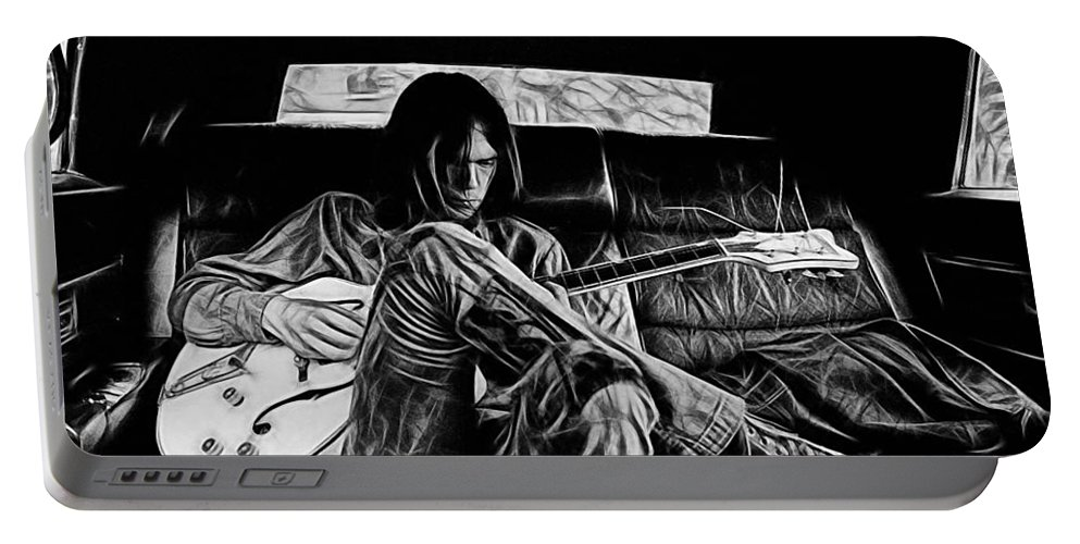 Neil Young Portable Battery Charger featuring the mixed media Neil Young Collection by Marvin Blaine