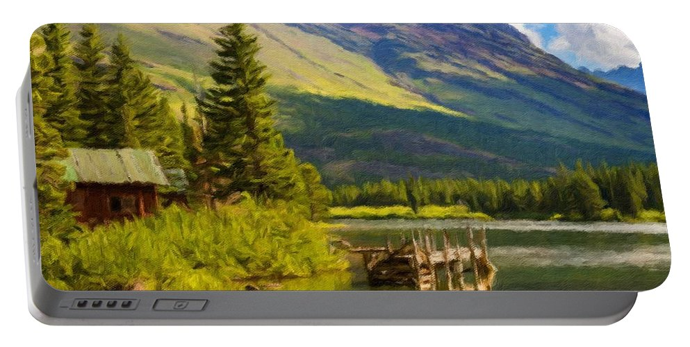 Landscape Portable Battery Charger featuring the digital art Landscape Painting Acrylic by Malinda Spaulding