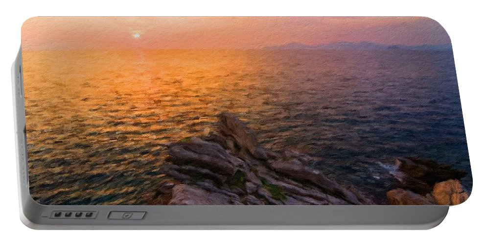 Nature Portable Battery Charger featuring the digital art Romantic Landscape by Malinda Spaulding