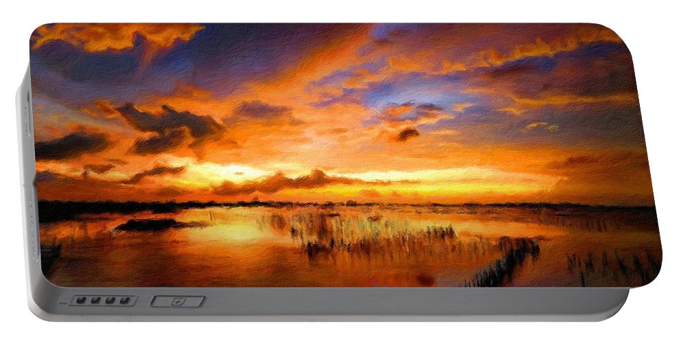 Landscape Portable Battery Charger featuring the digital art W H Landscape by Malinda Spaulding