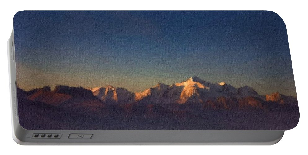 Beautiful Portable Battery Charger featuring the digital art D J Landscape by Malinda Spaulding
