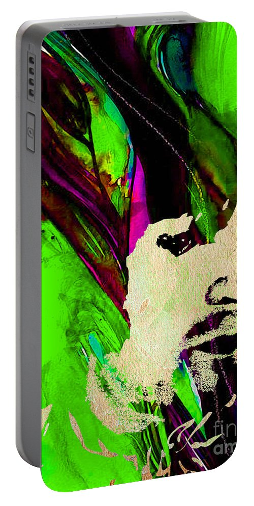 Eric Clapton Portable Battery Charger featuring the mixed media Eric Clapton Collection by Marvin Blaine