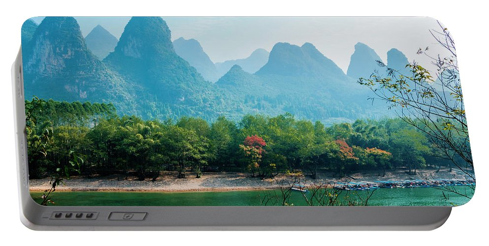 River Portable Battery Charger featuring the photograph Lijiang River And Karst Mountains Scenery by Carl Ning