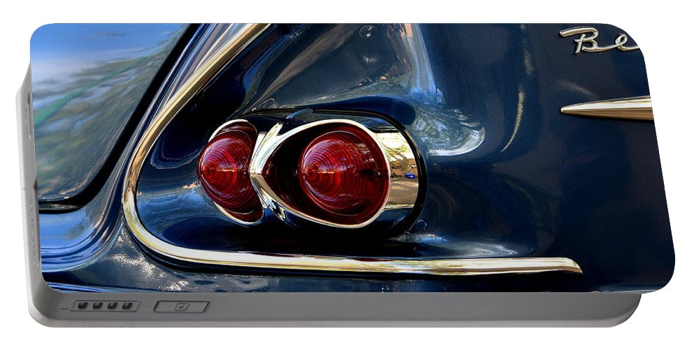 Portable Battery Charger featuring the photograph 58 Bel Air Tail Light by Dean Ferreira