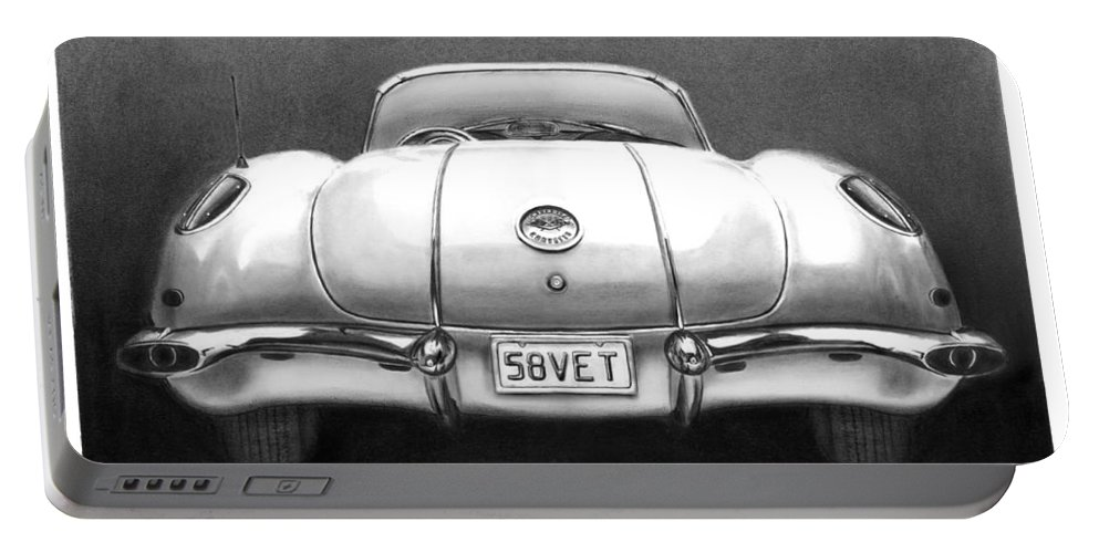 1958 Corvette Portable Battery Charger featuring the drawing 58vet by Peter Piatt