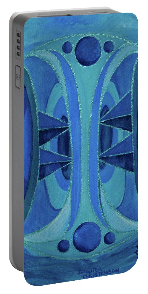 Mandala Portable Battery Charger featuring the painting 5th Mandala - Throat Chakra by Jennifer Christenson