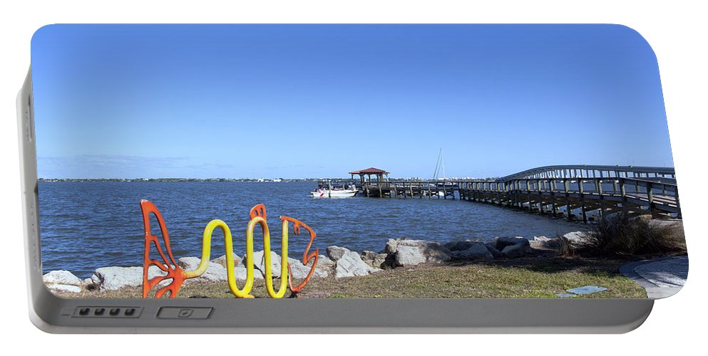 Florida Portable Battery Charger featuring the photograph Indian River Lagoon At Eau Gallie In Florida Usa by Allan Hughes