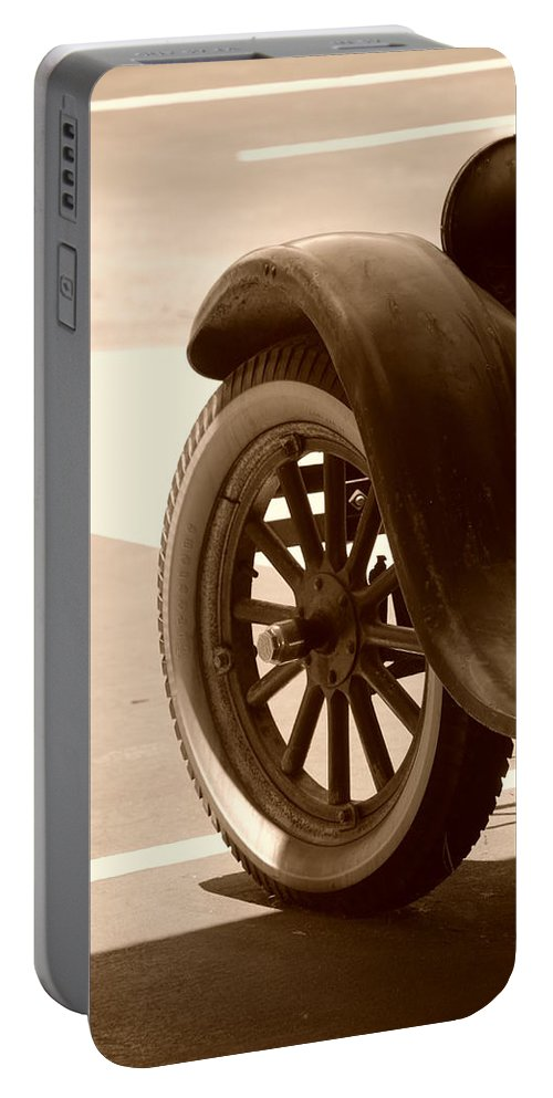 Sepia Portable Battery Charger featuring the photograph 1926 Model T Ford by Rob Hans