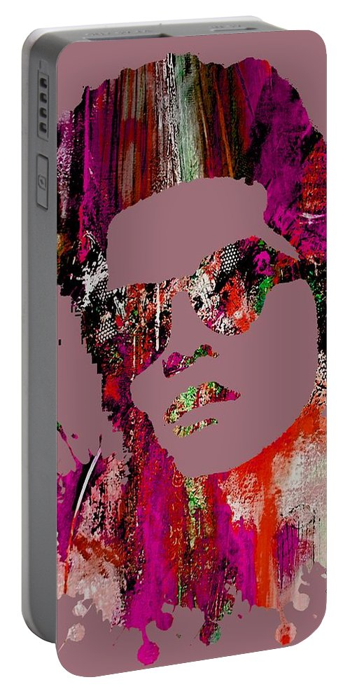 Bruno Mars Portable Battery Charger featuring the mixed media Bruno Mars Collection by Marvin Blaine