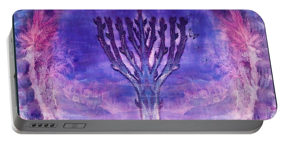 Chanukkah Candelar Portable Battery Charger featuring the painting Chanukkah Lights by Sandrine Kespi