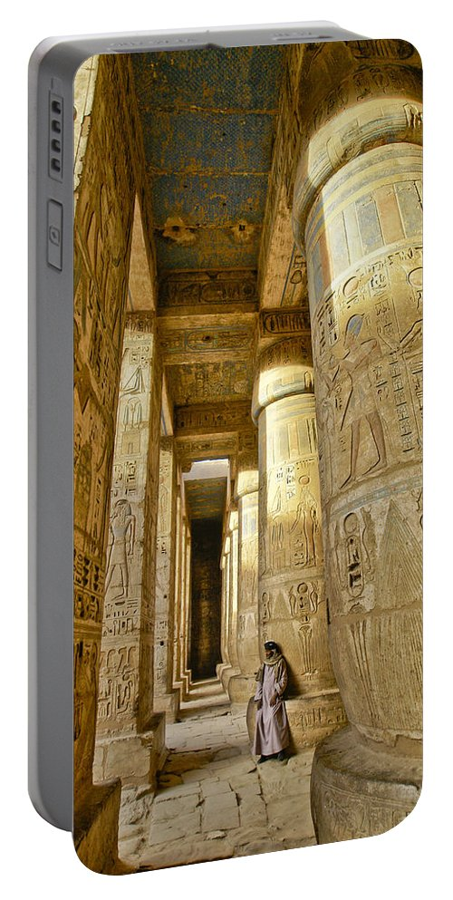 Egypt Portable Battery Charger featuring the photograph Colonnade In An Egyptian Temple by Michele Burgess