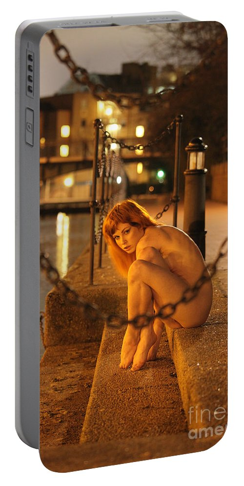 Fine Art Nude Portable Battery Charger featuring the photograph Fawnya Frolic by Nocturnal Girls