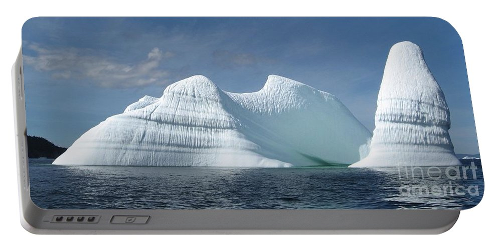 Iceberg Photograph Ice Water Ocean Sea Atlantic Summer Newfoundland Portable Battery Charger featuring the photograph Iceberg by Seon-Jeong Kim