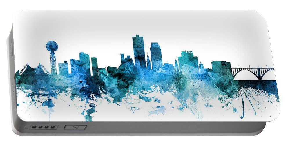 United States Portable Battery Charger featuring the digital art Knoxville Tennessee Skyline by Michael Tompsett