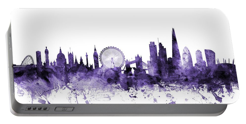 London Portable Battery Charger featuring the digital art London England Skyline by Michael Tompsett